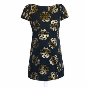 Milly of New York Black Gold Floral Mini Dress 4